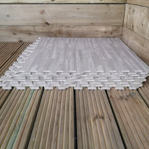 8 Piece Grey Wood Effect EVA Foam Floor Protective Tiles / Mats 60x60cm Each Set For Gyms, Kitchens, Garages, Camping, Kids Play, Set Covers 2.88 sqm