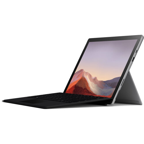 """Microsoft 12.3"""" Multi-Touch Surface Pro 7 Platinum Bundle with Black Surface Pro Type Cover"""