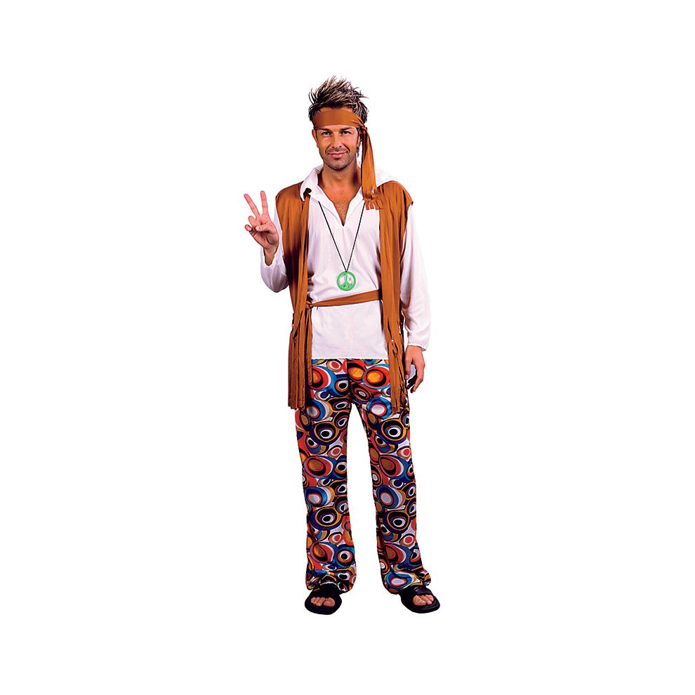 Male Hippie Costume Groovy Shirt with Attached Vest and Headband Costume Set