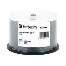 Verbatim CD R 700MB 52X DataLifePlus White Inkjet Printable 50pk Spindle
