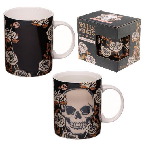 Heat Colour Changing Porcelain Mug - Skulls and Roses