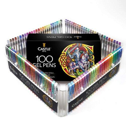 Castle Arts 100 Piece Gel Pen Art set with Case