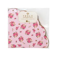 Alice in Wonderland Pink Scalloped Edge Paper Napkins x 20 - 3 ply Party / Wedding