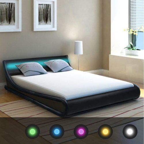 vidaXL Bed Frame with LED Strip Artificial Leather Bedroom Black//White 2 Sizes