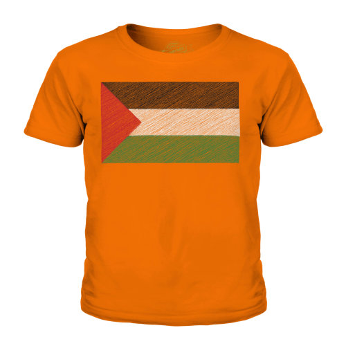 (Orange, 11-12 Years) Candymix - Palestine Scribble Flag - Unisex Kid's T-Shirt