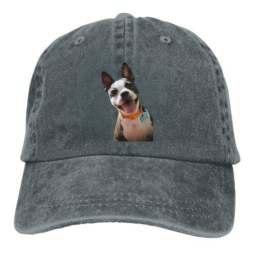 (Dark Grey) Hi Boston Terrier Denim Baseball Caps