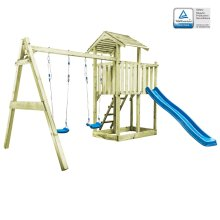 vidaXL Playhouse with Ladder Slide and Swings 385x353x268cm Wood Activity
