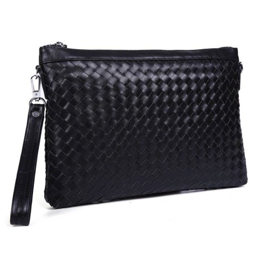 "Woven Black Leather 11"" Clutch Bag"
