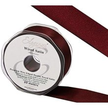 Eleganza Wired Edge Premium Double Faced Satin, Burgundy, 38mm x 20m