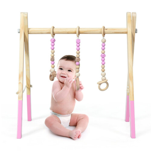 Baby Foldable WoodenGym 3 Theething Toys Stand Nursery Hanging