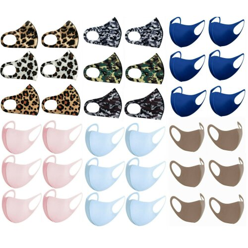 Unisex Pack of 6 Stretchable Reusable Outdoor Protection Breathable Mouth Nose Shield Anti Smoke Pollution Anti Dust Face Covering for Yoga Running