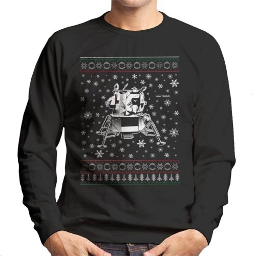 NASA Apollo Lunar Module Christmas Knit Pattern Men's Sweatshirt
