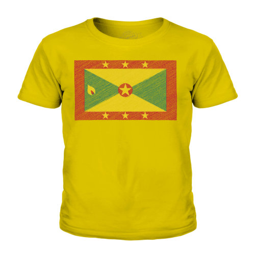 (Gold, 7-8 Years) Candymix - Grenada Scribble Flag - Unisex Kid's T-Shirt