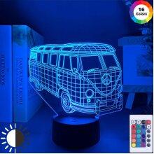 3D Illusion Led Night Light Lamp Peace Bus Kids Child