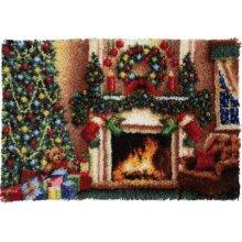 Christmas Fireplace Rug Latch Hooking (102x69cm)