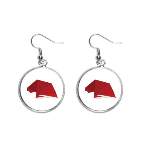 Red Abstract Christmas Hat Origami Ear Dangle Silver Drop Earring Jewelry Woman