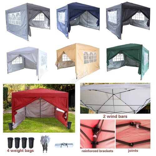 Birchtree Waterproof Pop Up Gazebo | Garden Party Tent - 3 x 3m