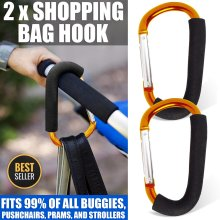 2 Buggy Clips Large Pram Pushchair Hand Carry Bag Hooks Stroller Clip