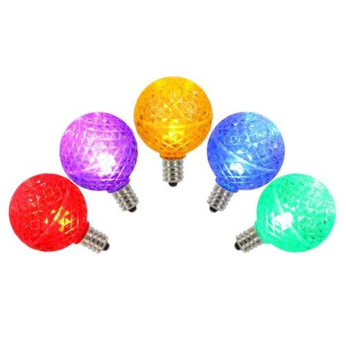 G40 Faceted LED Replacement Bulbs with Multi-Colored Lights - Pack of 5