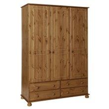 3 Door 4 Drawer Wardrobe Combi Triple Clothes Storage Cabinet Full Hanging Pine