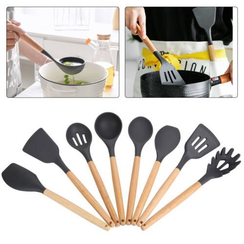8x Piece Silicone Wooden Kitchen Cooking Utensils Set Tools Spoon