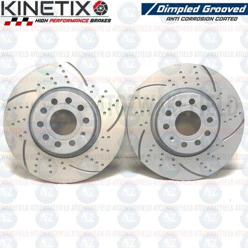 FOR SKODA OCTAVIA VRS FRONT KINETIX DIMPLED GROOVED BRAKE DISCS PAIR 312mm