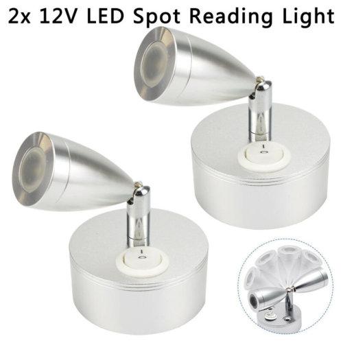 2x 12V LED Spot Reading Light Switch Camper Van Caravan Boat Interior Light Hot