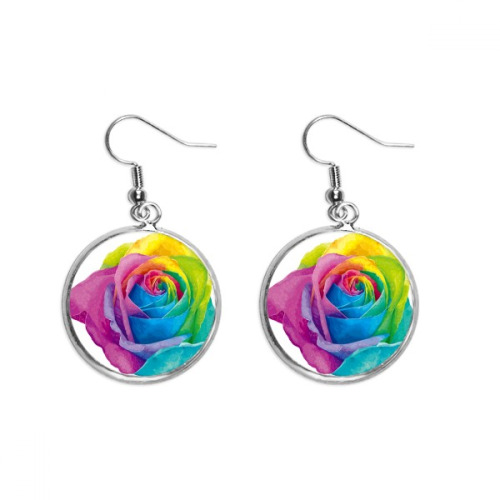 Rainbow Gay Lesbian Flower LGBT Ear Dangle Silver Drop Earring Jewelry Woman