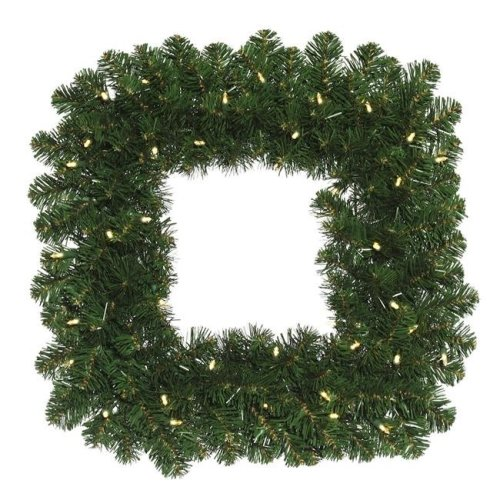 Vickerman C164825LED Oregon Fir Wide Angle Square Wreath with Warm White LED Lights - 24 in.