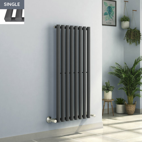 Voss 1200 x 545mm Anthracite Single Oval Tube Vertical Bathroom Toilet Home Radiator