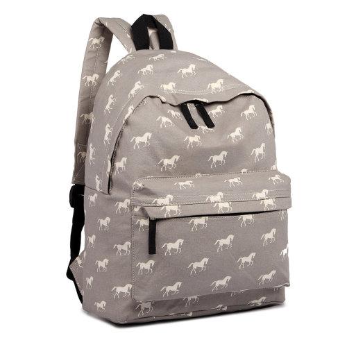 Miss Lulu Girls Boys School Bag Backpack Horse Canvas Grey