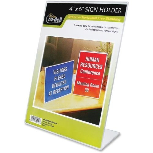 NuDell NUD35446 4 x 6 in. L-Shaped Sign Holder, Clear