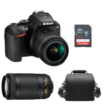 NIKON D3500 +AF-P 18-55mm VR + AF-P DX 70-300 ED VR DX+Bag+16g SD card