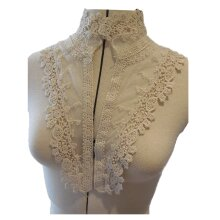 ivory floral cotton lace embroidered collar applique motif