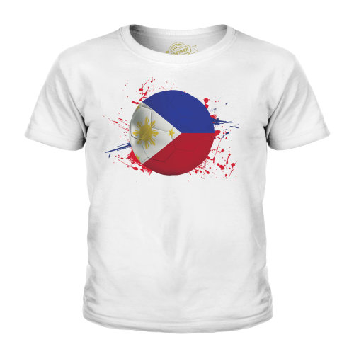 (White, 11-12 Years) Candymix - Philippines Football - Unisex Kid's T-Shirt