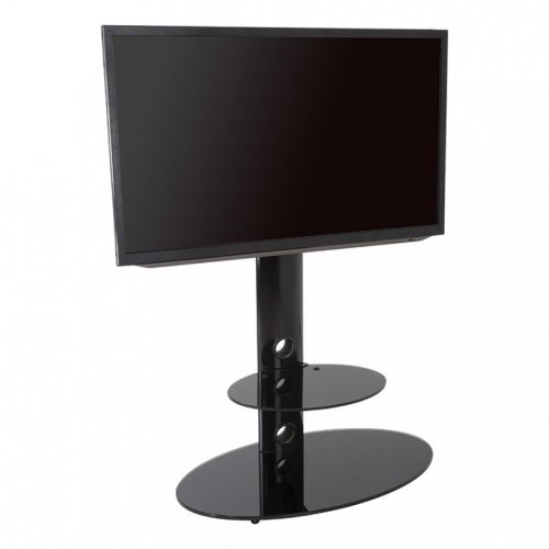 """King Cantilever TV Stand with Brackets, Black, Oval Base, TVs up to 60"""""""