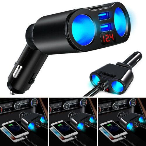 UK 12V Car Cigarette Lighter 2 Way Dual USB Charger Plug Socket Splitter Adapter