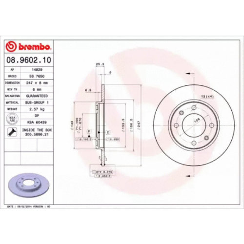 Rear Pair (2x) of Brake Disc BREMBO 08.9602.10