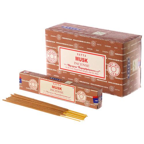 Satya Nag Champa Incense Sticks - Musk - Set of 12
