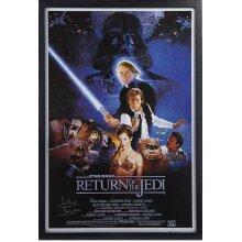 Framed Dave Prowse Darth Vader Return of the Jedi signed poster  COA