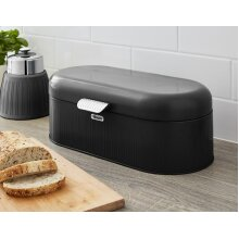 Swan Retro Bread Bin Kitchen Storage Easy Open Lid w/Chrome Plate Handle Easy Clean Generous Capacity - Black
