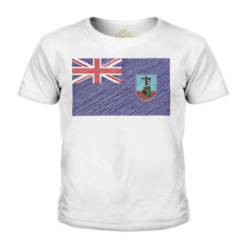 (White, 7-8 Years) Candymix - Montserrat Scribble Flag - Unisex Kid's T-Shirt