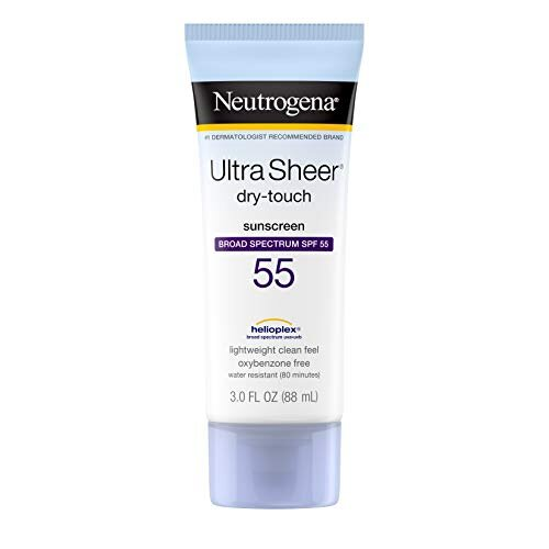 Neutrogena Ultra Sheer Dry-Touch Sunscreen Lotion, Broad Spectrum SPF 55 UVA/UVB Protection, Oxybenzone-Free, Light, Water Resistant, Non-Comedogenic