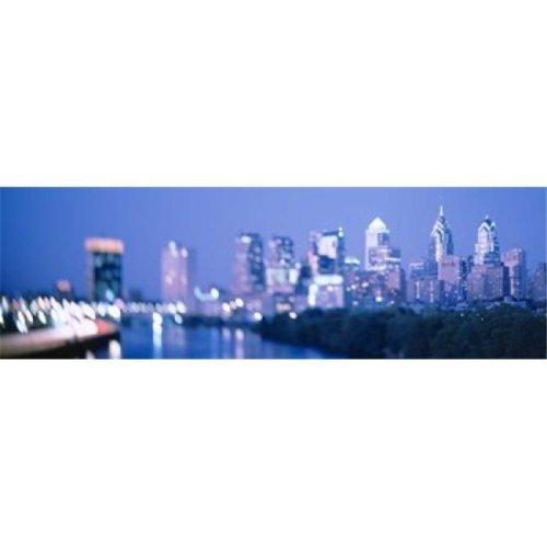 River passing through a city  Schuylkill River  Philadelphia  Pennsylvania  USA Poster Print by  - 36 x 12