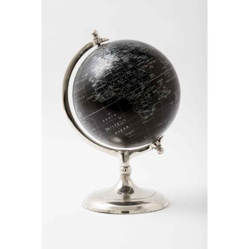 20Cm Black Ball Modern World Globe With Silver Stand For Office And Home Decoration