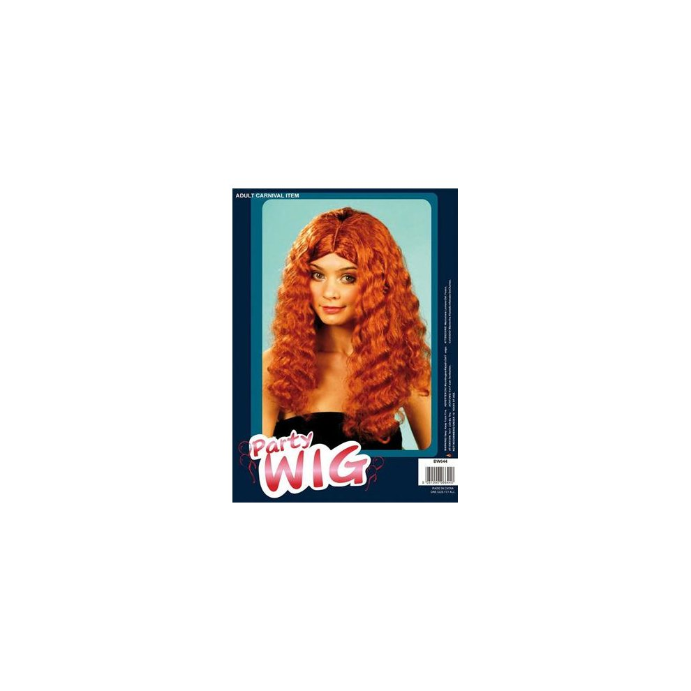 FRIZZY WIG LONG AUBURN GINGER ADULT FANCY DRESS COSTUME ACCESSORY