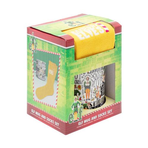 Elf Mug and Socks Buddy the Elf Gift Set Unisex Yellow Socks