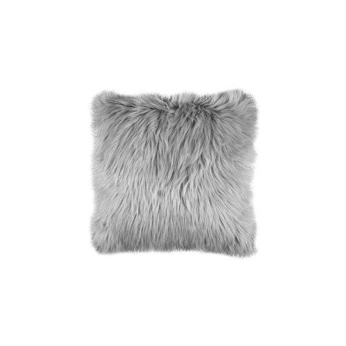 Benzara BM178052 Contemporary Style Shaggy Throw Pillows, Silver - Set of 2 - 2 x 20 x 20 in.