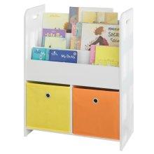 SoBuy® KMB27-W, Children Bookcase Storage Display Shelf Fabric Drawers