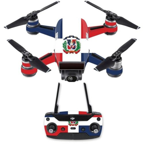 Mightyskins DJSPCMB-Dominican Flag Skin Decal for DJI Spark Mini Drone Combo - Dominican Flag